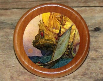 PIRATE SHIP Pendant or Brooch or Ring or Earrings or Tie Tack or Cuff Links