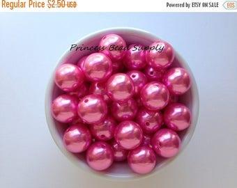 SALE 20mm Light Hot Pink Pearl Chunky Beads Set of 10,  Light Hot Pink Pearl Bubble Gum Beads, 20mm Pearls, Gumball Beads, Acrylic Beads
