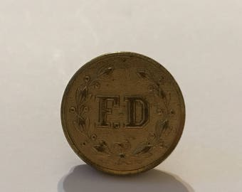 "Vintage FD Fire Department Uniform Button 7/8"" Button"