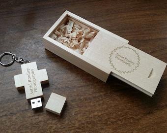 Personalized Wooden Usb Flash Drive, Cross Shape, Wedding Gifts, USB 2.0
