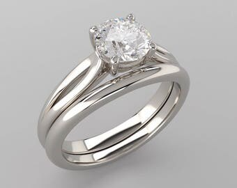 7mm Round Forever One Moissanite Solitaire Engagement Ring - 14K 18K White Gold or Platinum - Classic Low Profile Ring