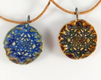 Sri Yantra Porcelain Necklace Sacred Geometry Pendant Ceramic