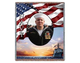 Military Blanket, Customized Photo Blankets, US Navy Gifts, Photo Blanket, Navy Gifts, Military Gifts, Gift For Men, Throw Blanket