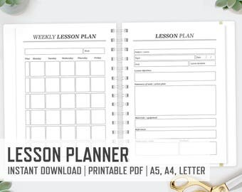 lesson planner printable etsy