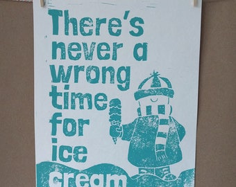 Ice Cream Linoleum Cut Print