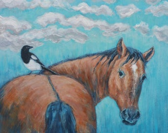 Horse and bird original painting, horse art, horse picture, painting of horse, magpie, bird art, gift for horse lover, equine affordable art