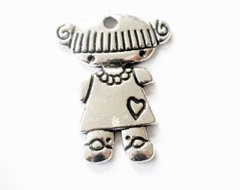 In antique silver girl charm