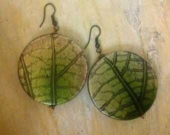 Large Leaf Imprint Wood Bead Earrings