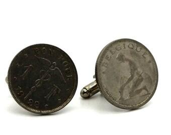 "Authentic ""Belgium"" 1 franc coin cuff links. TMPL_SKU004789"