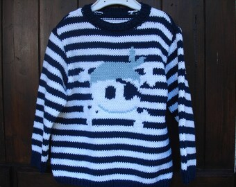 pirate child cotton hand-knitted sweater pattern