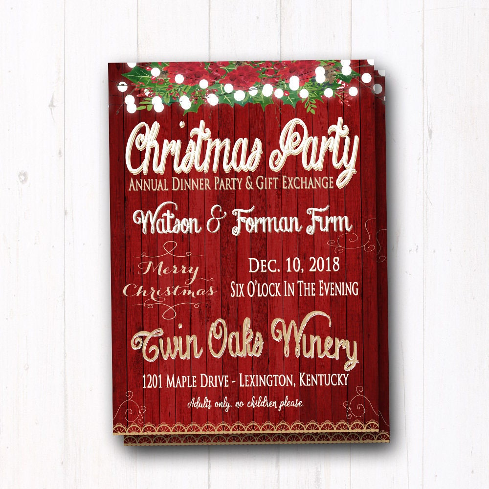Rustic & Vintage Christmas Party Invitation Family Dinner