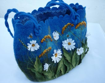 Blue bag camomile everyday bag Blue Tote Bag  felted bag womens purse chamomile with daisy flowers handmade bag shoulder bag large tote bag