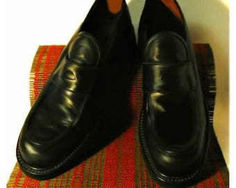 Men's shoes, black shoes, leather shoes, black leather shoes, men's loafers, dress shoes, slip on shoes, casual shoes | Made in Italy | 10 D