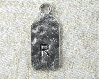 "Silver Tag Letter ""R"" Charms 1 or 5 letters per package  ALF019r"