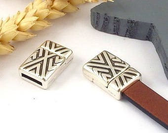 3 geometric silver plated 10mm flat leather magnetic clasps