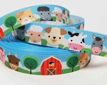 "7/8"" inch Baby Farm Animals and Barn on field   -  Printed Grosgrain Ribbon for Hair Bow - Original Design"