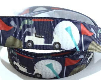 7/8 inch Golf ball, Golf Cart on Navy Blue Printed Grosgrain Ribbon for Hair Bow, Key chain Key fob Lanyard - Original Design