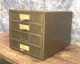 4 drawer small metal filing cabinet file vintage storage card nut bolt parts k - Small File Cabinet
