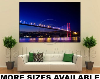 Wall Art Giclee Canvas Picture Print Gallery Wrap Ready To Hang Istanbul Bosphorus Bridge Night 60x40