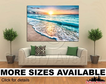 Wall Art Giclee Canvas Picture Print Gallery Wrap Ready to Hang Sunrise over beach in Cancun 60x40 48x32 36x24 24x16 18x12 3.2