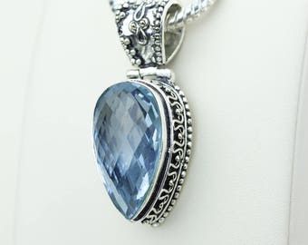 Swiss Blue Topaz Vintage Setting 925 S0LID Sterling Silver Pendant + 4MM Snake Chain & Worldwide Shipping p4231