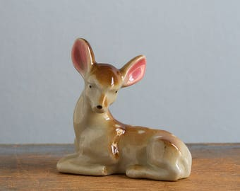 Vintage Miniature Ceramic Deer / Fawn Figurine, Made in Occupied Japan