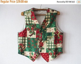 ON SALE Mens Colorful Christmas Vest Christmas Spirit Print Waistcoat Ugly Sweater Party Vest Size XL To Xxl Large Oversized