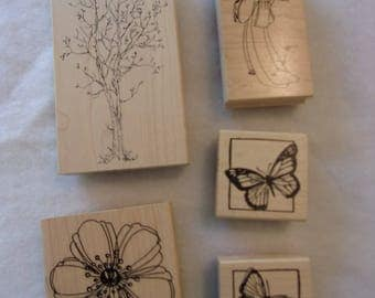 stamp blocks,lot of (5),wood and rubber stamps,geisha,flower,butterflies,tree,Judith,Northwoods Rubber Stamps,Great Impressions,Stampendous