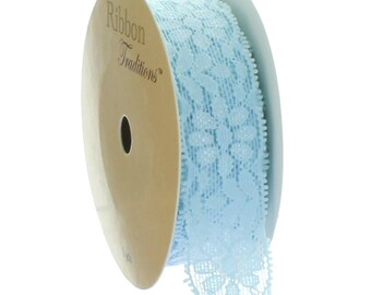 "7/8"" Stretch Elastic Lace Trim - Light Blue - Choose Length"