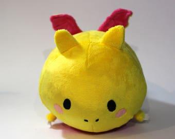 Happy Yellow & Fuscia Dragon Roll Plush