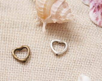Heart-Shaped Ring Charm Pendant,14*15 mm Pendant,Engraved Antique Silver Supplies,Antique Bronze Supplies,DIY Supplies
