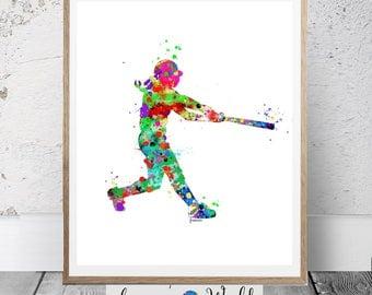 Softball PRINTABLE Watercolor,Softball Art, Girl Softball,girl baseball, Softball Printable, Softball Decor, Softball party, Softball poster