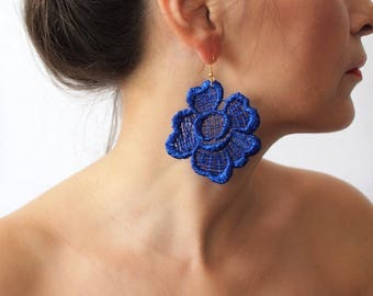 xmas gift, Lace Earrings, Royal Blue Earrings, Dangle Earrings, Statement Earrings, Boho Earrings