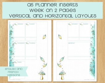 Watercolor A5 SIZED Inserts with Winter Theme, 1 Week on 2 Pages, Vertical or Horizontal Layout - English and French