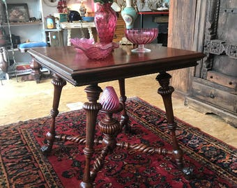 Antique Merklen Parlour Mahogany Parlor Table with Claw and Ball Feet - 1885 twisted carved wooden legs restored to beautiful condition.