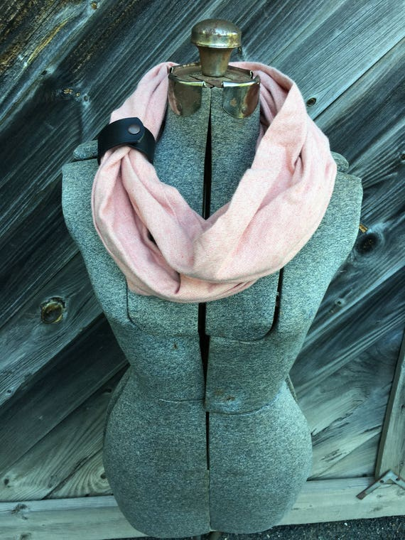 blush herringbone flannel eternity scarf with a brown leather cuff - soft, trendy
