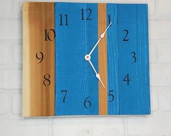 Medium Wood Wall Clock - Blue Grain