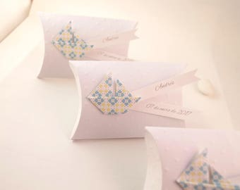 Boy baptism favors + boat origami box blue yellow paper - thank you welcome birthday gift, baptism, wedding
