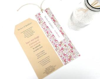 Wedding invitation handmade kraft + liberty Eloise