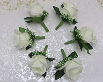 boutonnieres, ivory boutonnieres, set of 6 Boutonnieres, wedding flowers, artificial boutoniieires