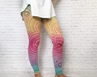 Rainbow Leggings - Fashion Leggings - Medallion Leggings - Leggings Printed - Colorful Leggings - Women's Leggings -Bright Leggings -Legging