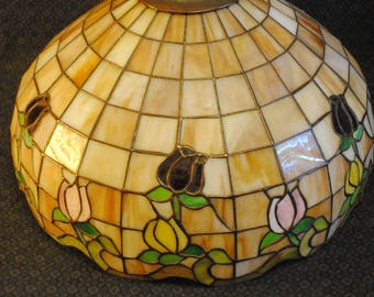 Orange hues glass lamp shade with flowers