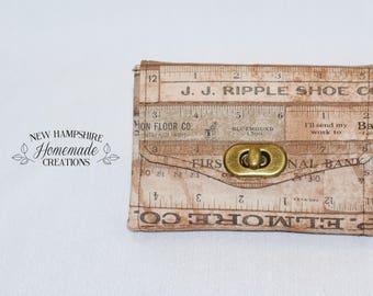 The Mini Necessary Clutch Wallet - NCW - yard stick Fabric