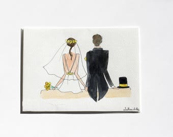 A5 illustration in watercolor, wedding. White, yellow detail.