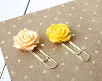 Floral Planner Paper Clip/ Yellow Rose Page Markers/ Flower book mark set of 2
