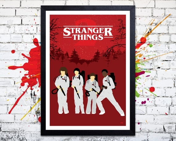 Stranger Things 2 // 'Ghostbusters' // Minimalist TV Poster // Unique A4 / A3 Art Print
