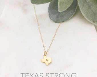 TEXAS Necklace | Texas State Necklace Gold | Gold Texas Pendant Necklace | Texas Heart Necklace | Gold Texas Necklace