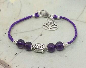 Amethyst Bracelet, buddha bracelet, purple bracelet, yoga bracelet, macrium jewelry