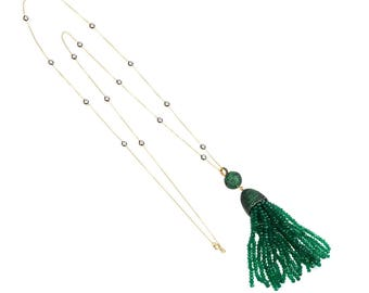 Tassel Ball Necklace Green Onyx
