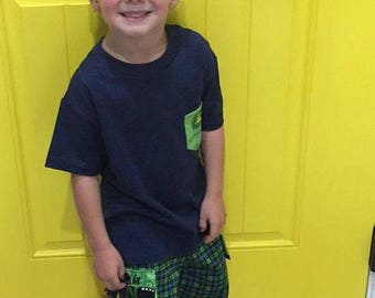 Boys Shorts with Cargo Pockets, John Deere Green and Blue Plaid Fabric
